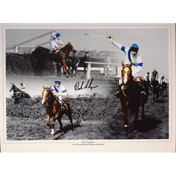 Bob Champion SIGNED 16x12 Photo Autograph Grand National Winner Aldaniti COA