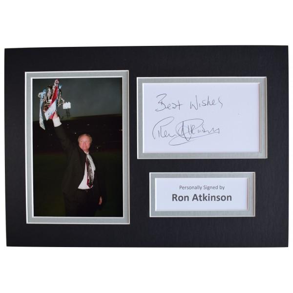 Ron Atkinson Signed Autograph A4 photo display Aston Villa Football AFTAL COA Perfect Gift Memorabilia