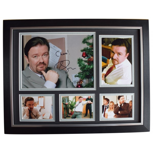 Ricky Gervais Signed Autograph 16x12 framed photo display Office TV David Brent Perfect Gift Memorabilia