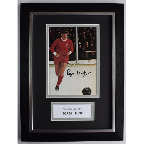 Roger Hunt Signed A4 Framed Autograph Photo Display Liverpool Football AFTAL COA Perfect Gift Memorabilia