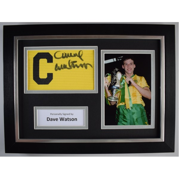 Dave Watson Signed Framed Captains Armband A4 Photo Display Norwich Football COA Perfect Gift Memorabilia