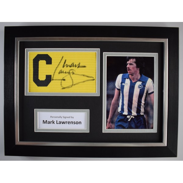 Mark Lawrenson Signed Framed Captains Armband A4 Photo Display Brighton Football  Perfect Gift Memorabilia