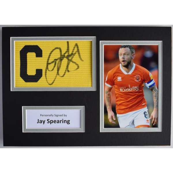 Jay Spearing Signed Captains Armband A4 Photo Display Blackpool Football COA Perfect Gift Memorabilia