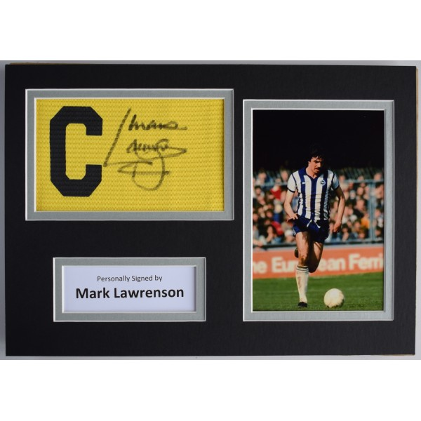 Mark Lawrenson Signed Captains Armband A4 Photo Display Brighton Hove Albion COA Perfect Gift Memorabilia