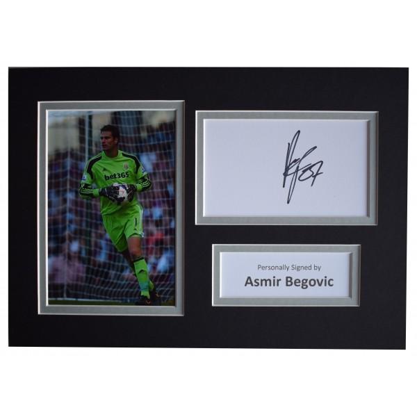 Asmir Begovic Signed Autograph A4 photo display Stoke City Football AFTAL COA Perfect Gift Memorabilia