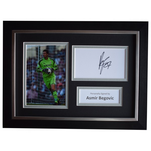 Asmir Begovic Signed A4 Framed Autograph Photo Display Stoke City Football COA Perfect Gift Memorabilia