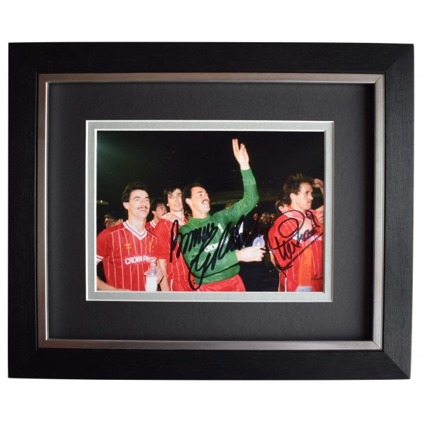 Bruce Grobbelaar Phil Neal Signed 10x8 Framed Autograph Photo Display Liverpool Perfect Gift Memorabilia