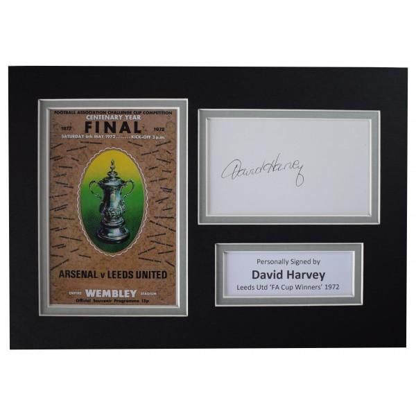 David Harvey Signed Autograph A4 photo display Leeds Utd 1972 FA Cup Final COA Perfect Gift Memorabilia