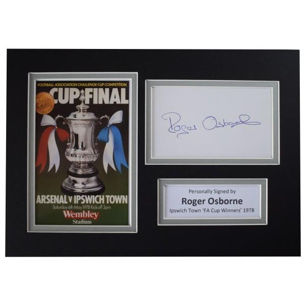 Roger Osborne Signed Autograph A4 photo display Ipswich Town 1978 FA Cup COA Perfect Gift Memorabilia