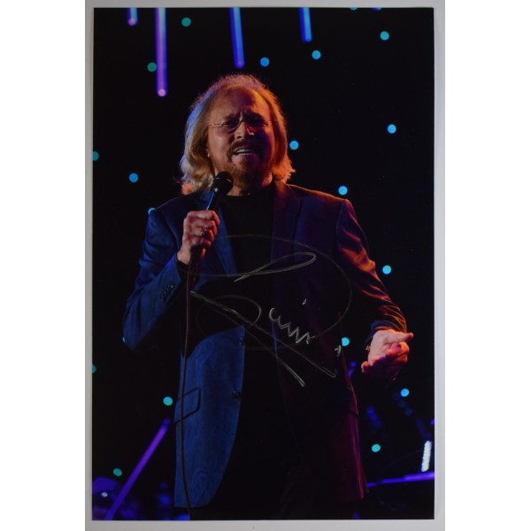 Barry Gibb Signed 12x8 Photo Autograph Signature BeeGees Music AFTAL COA  Perfect Gift Memorabilia
