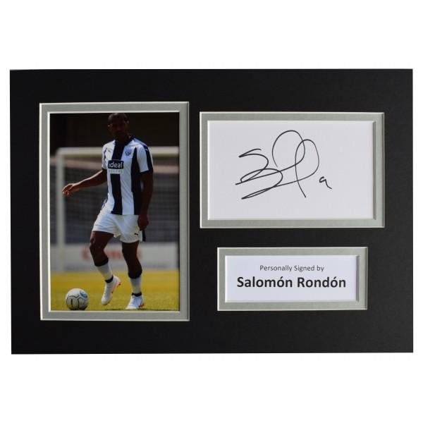 Salomon Rondon Signed Autograph A4 photo display West Bromwich Albion AFTAL COA Perfect Gift Memorabilia