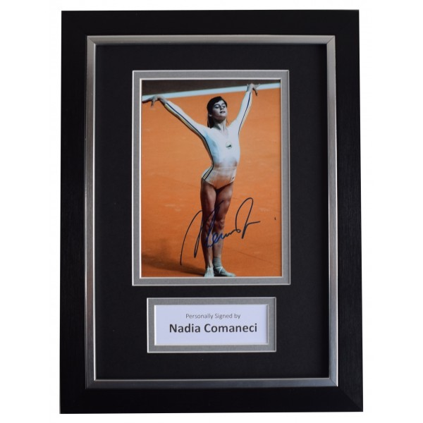 Nadia Comaneci Signed A4 Framed Autograph Photo Display Olympic Gymnastics COA AFTAL Perfect Gift Memorabilia