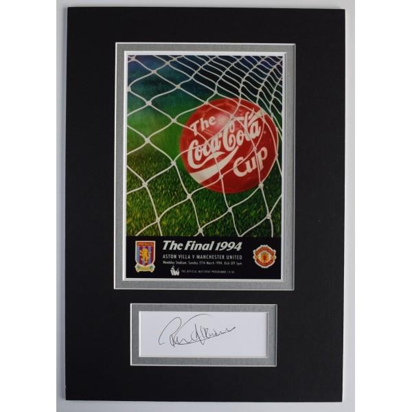 Ron Atkinson Signed Autograph A4 photo display League Cup 1994 Man Utd AFTAL COA Perfect Gift Memorabilia