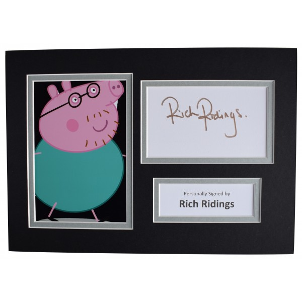 Rich Ridings Signed Autograph A4 photo display Daddy Pig Peppa TV AFTAL COA Perfect Gift Memorabilia