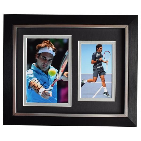 Roger Federer Signed 10x8 Framed Autograph Photo Display Tennis Grand Slam COA Perfect Gift Memorabilia