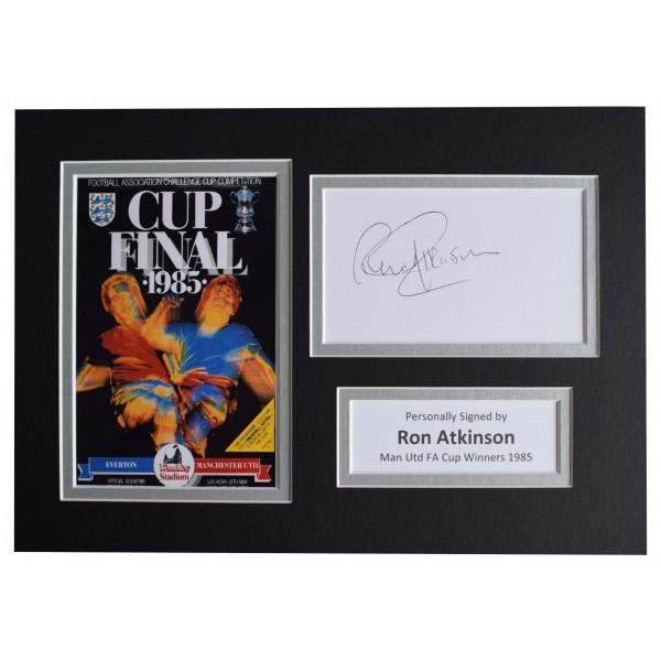 Ron Atkinson Signed Autograph A4 photo display Manchester United FA Cup 1985 COA Perfect Gift Memorabilia