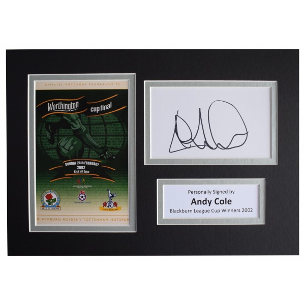 Andy Cole Signed Autograph A4 photo display Blackburn Rovers League Cup 2002 COA Perfect Gift Memorabilia