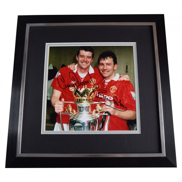Bryan Robson Gary Pallister Signed Framed Large Square Photo Autograph Man Utd AFTAL Perfect Gift Memorabilia