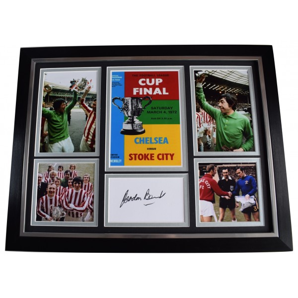 Gordon Banks Signed Autograph 16x12 framed photo display League Cup 1972 Stoke AFTAL Perfect Gift Memorabilia