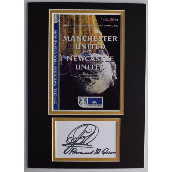 Raimond Van der Gouw Signed Autograph A4 photo display Man Utd 1999 FA Cup COA AFTAL Perfect Gift Memorabilia