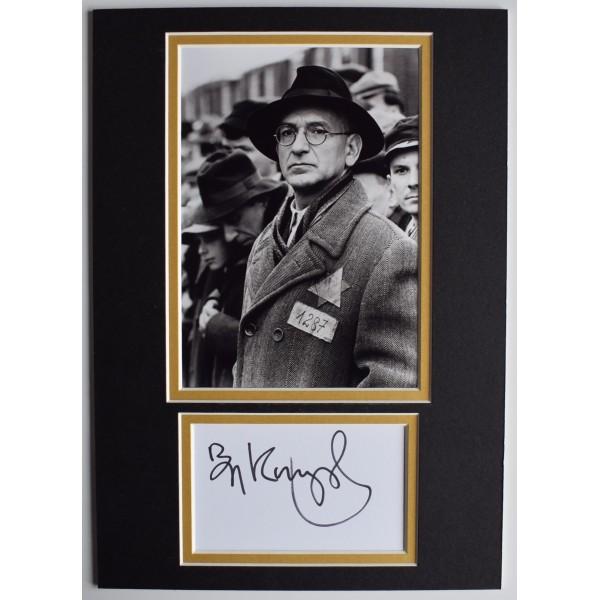 Ben Kingsley Signed Autograph A4 photo display Film Schindlers List Actor COA AFTAL Perfect Gift Memorabilia