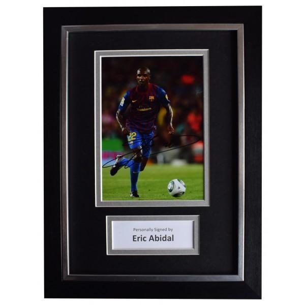 Eric Abidal Signed A4 Framed Autograph Photo Display Barcelona Football COA AFTAL Perfect Gift Memorabilia