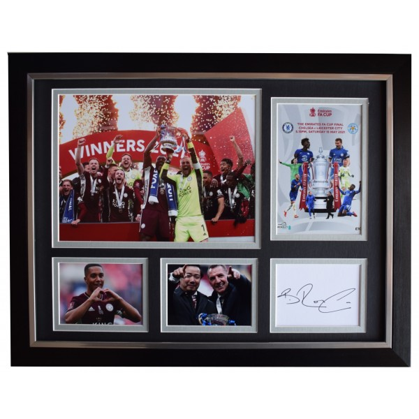Brendan Rodgers Signed Autograph framed 16x12 photo display Leicester FA Cup 2021 AFTAL Perfect Gift Memorabilia