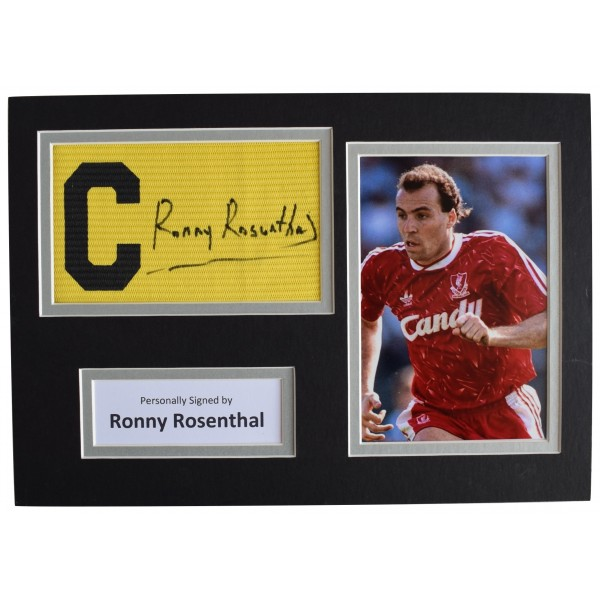 Ronny Rosenthal Signed Captains Armband A4 photo display Liverpool Football COA AFTAL Perfect Gift Memorabilia