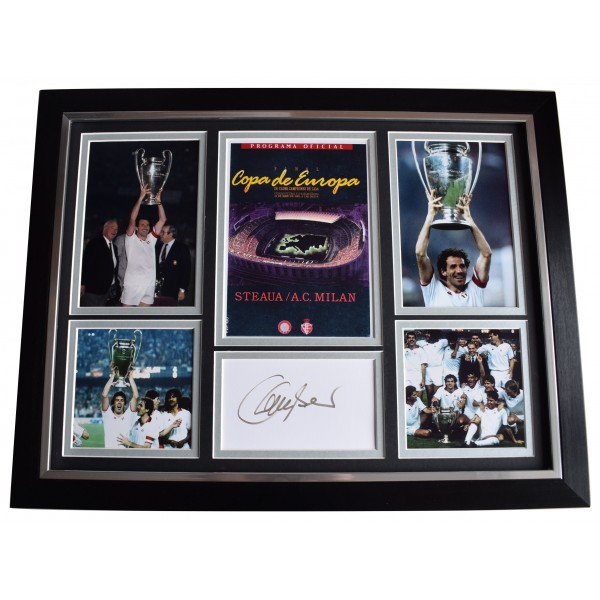 Franco Baresi Signed Autograph framed 16x12 photo display 1989 Euro Cup AC Milan AFTAL Perfect Gift Memorabilia