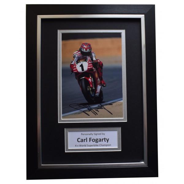 Carl Fogarty Signed A4 Framed Autograph Photo Mount Superbikes Sport AFTAL COA Perfect Gift Memorabilia