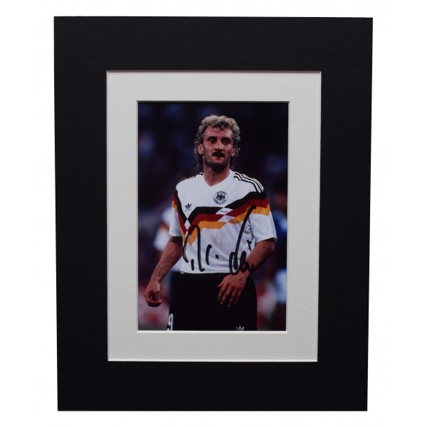 Rudi Voller Signed Autograph 10x8 photo display Germany Football AFTAL COA  Perfect Gift Memorabilia