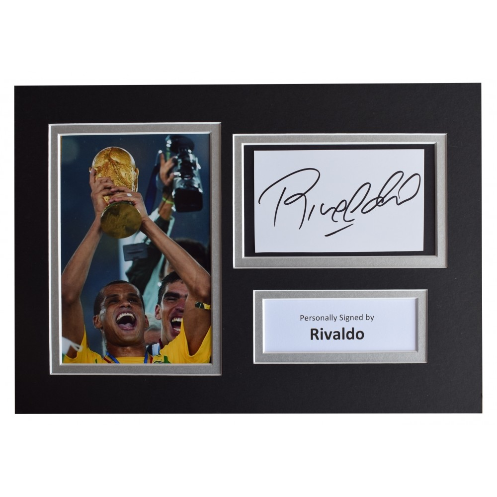 Rivaldo Signed Autograph A4 photo display Brazil Football AFTAL COA Perfect  Gift Memorabilia 924d28184