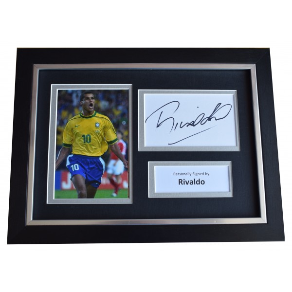Rivaldo Signed A4 Framed Autograph Photo Display Brazil Football COA Perfect Gift Memorabilia