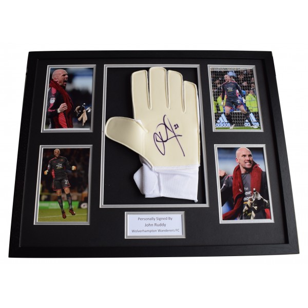 John Ruddy Signed FRAMED Goalkeeper Glove HUGE photo display Wolves AFTAL COA Perfect Gift Memorabilia