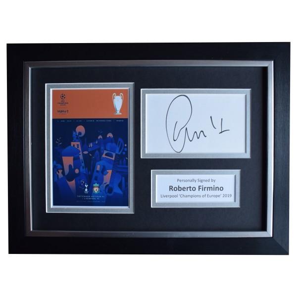 Roberto Firmino Signed A4 Framed Autograph Photo Liverpool European Cup 2019 COA Perfect Gift Memorabilia