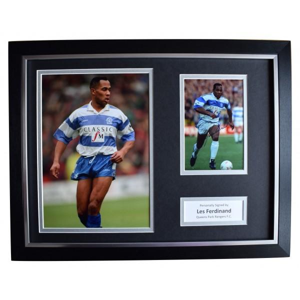 Les Ferdinand Signed Autograph 16x12 framed photo display QPR Football AFTAL COA Perfect Gift Memorabilia