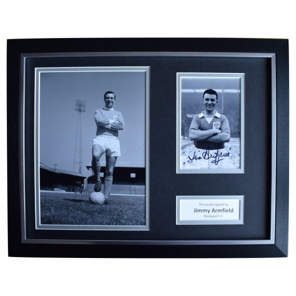 Jimmy Armfield Signed Autograph 16x12 framed photo display Blackpool AFTAL COA Perfect Gift Memorabilia
