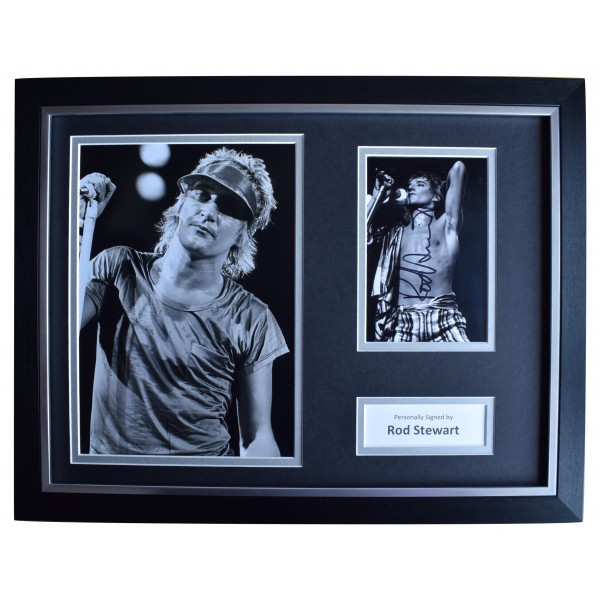 Rod Stewart Signed Autograph 16x12 framed photo display Music Faces AFTAL & COA Perfect Gift Memorabilia