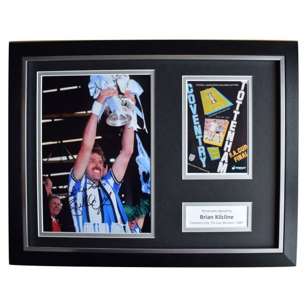 Brian Kilcline Signed Autograph 16x12 framed photo display Coventry FA Cup 1987 Perfect Gift Memorabilia