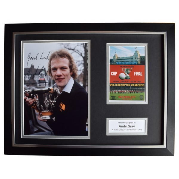 Andy Gray Signed Autograph 16x12 framed photo display Wolves League Cup 1974 COA Perfect Gift Memorabilia