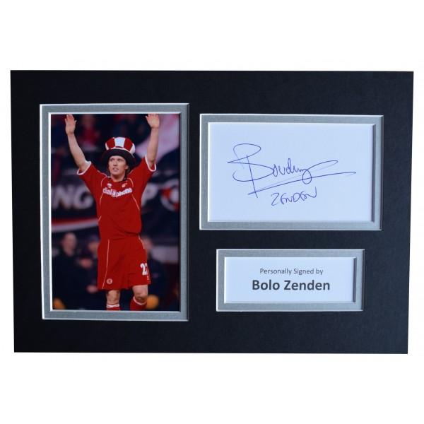 Bolo Zenden Signed Autograph A4 photo display Middlesbrough Football AFTAL COA Perfect Gift Memorabilia