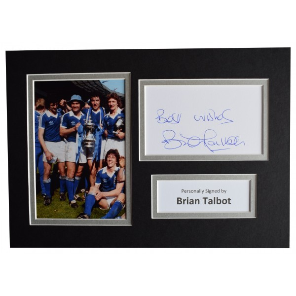 Brian Talbot Signed Autograph A4 photo display Ipswich Town Football AFTAL COA Perfect Gift Memorabilia