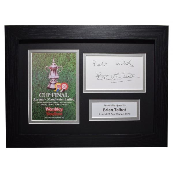 Brian Talbot Signed A4 Framed Autograph Photo Display Arsenal FA Cup 1979 COA Perfect Gift Memorabilia