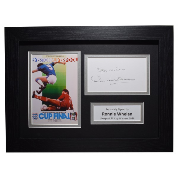 Ronnie Whelan Signed A4 Framed Autograph Photo Display Liverpool FA Cup 1986 COA Perfect Gift Memorabilia