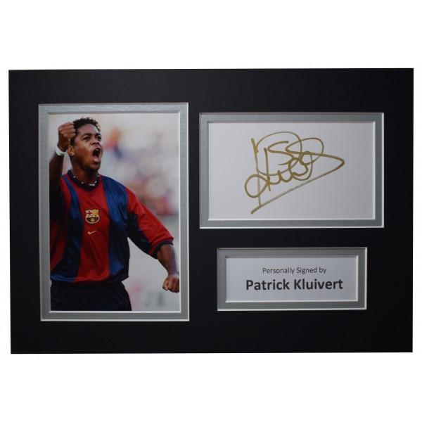 Patrick Kluivert Signed Autograph A4 photo display FC Barcelona AFTAL COA Perfect Gift Memorabilia