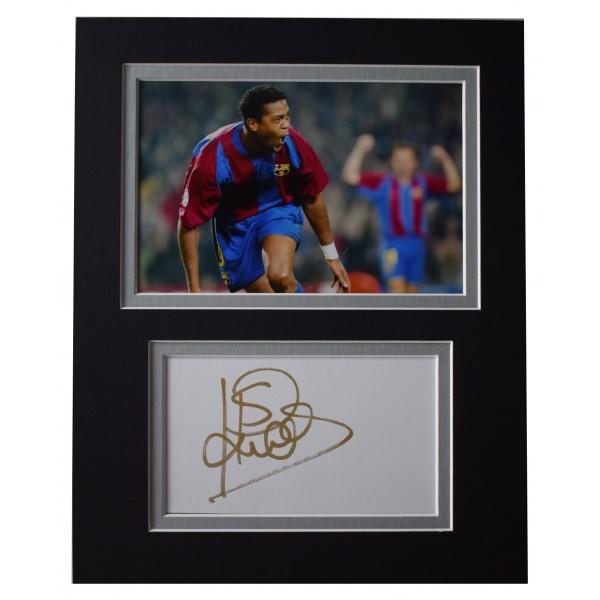 Patrick Kluivert Signed Autograph 10x8 photo display Barcelona AFTAL COA Perfect Gift Memorabilia