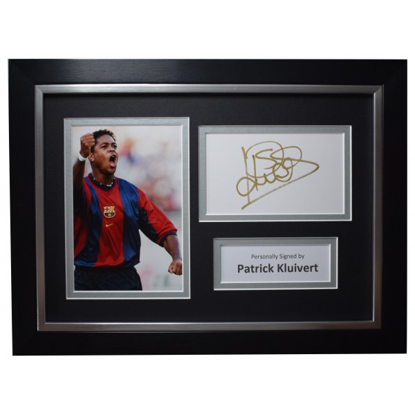 Patrick Kluivert Signed A4 Framed Autograph Photo Display Barcelona Football COA Perfect Gift Memorabilia