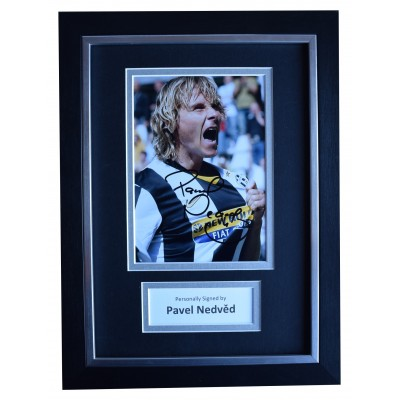 Pavel Nedved Signed A4 Framed Autograph Photo Mount Display Juventus COA Perfect Gift Memorabilia