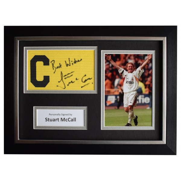 Stuart McCall Signed Framed Captains Armband photo A4 display Bradford City COA Perfect Gift Memorabilia