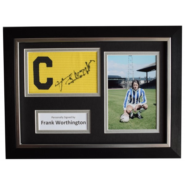 Frank Worthington Signed Framed Captains Armband photo A4 display Huddersfield  Perfect Gift Memorabilia